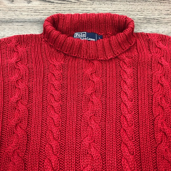 Polo by Ralph Lauren Other - Polo Ralph Lauren Red Cable Knit Turtleneck L